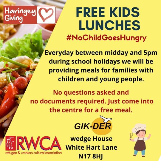 Poster advertising free kids lunches from the Refugee Workers Cultural Association