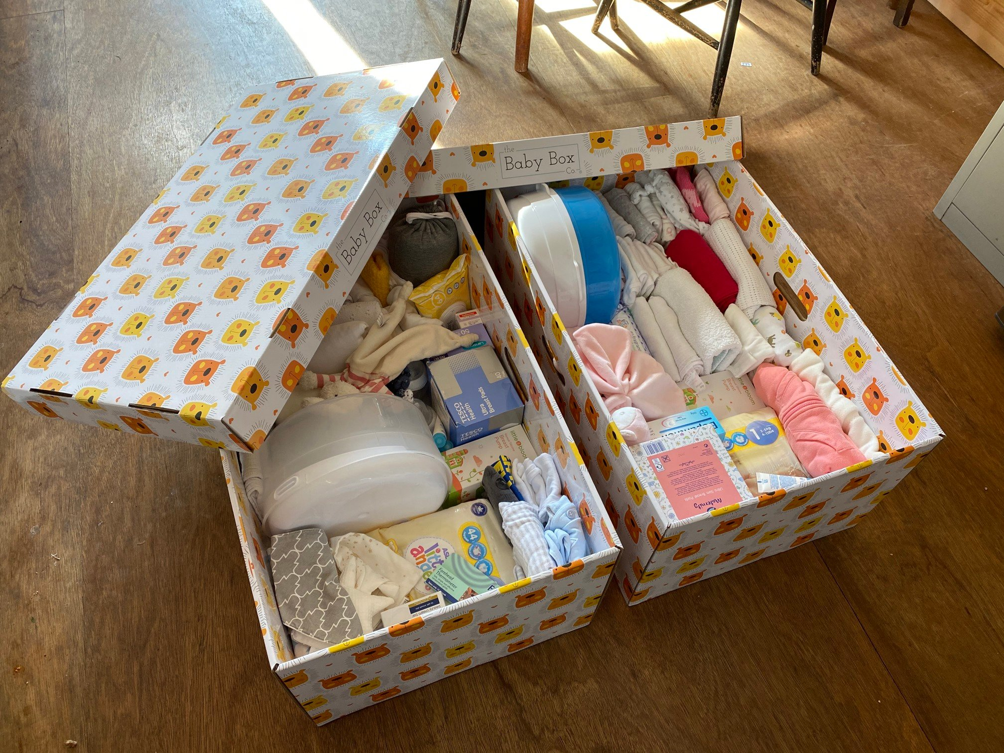 Pram Depot Baby Box showing contents