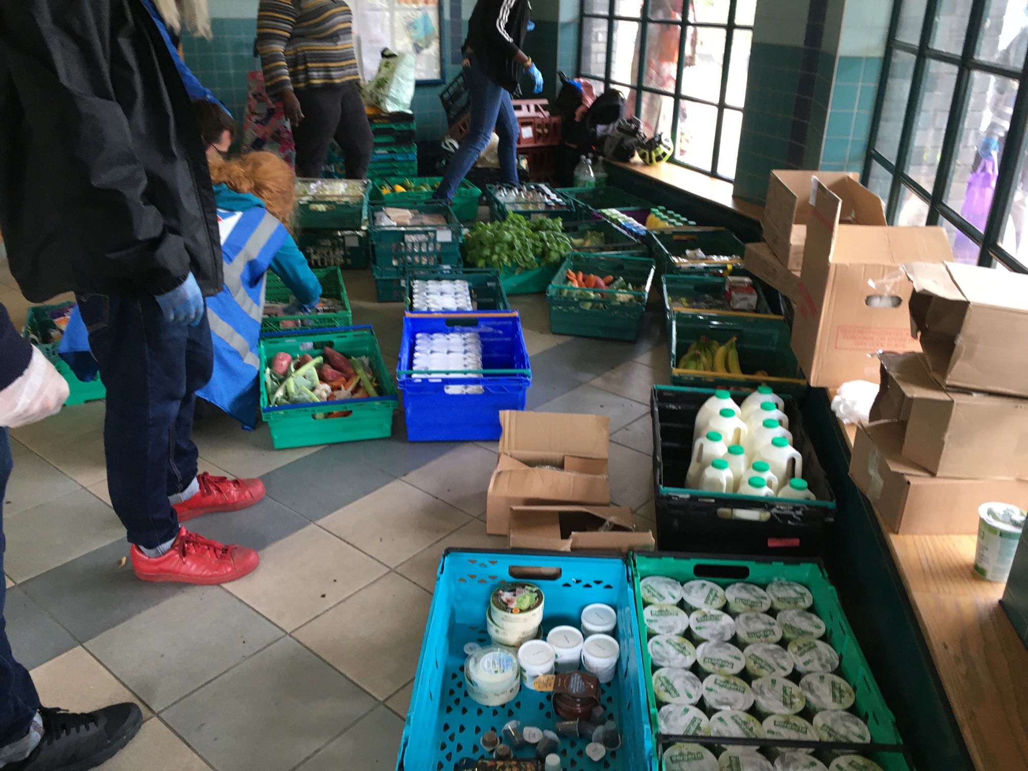 Food in crates ready to be distributed
